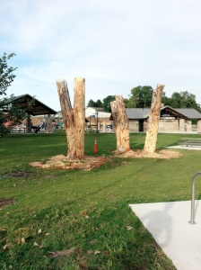 Last week these were just stumps, now there is some beautiful art carved into the sides.
